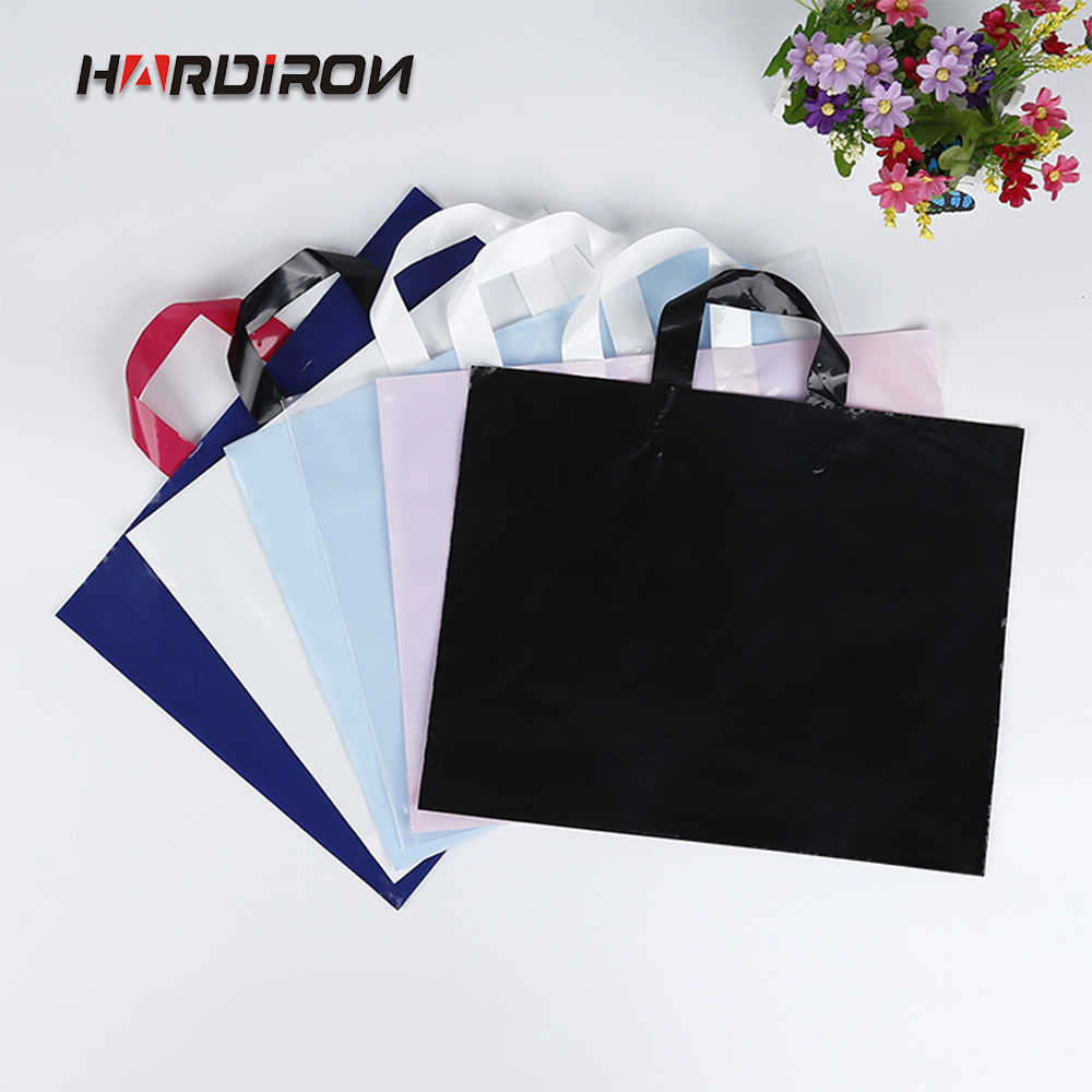 HARDIRON 50PCS Customizable LOGO Color Fashionable Plastic Shopping Sack With Handle Gift Goods and Clothes Packaging Bag