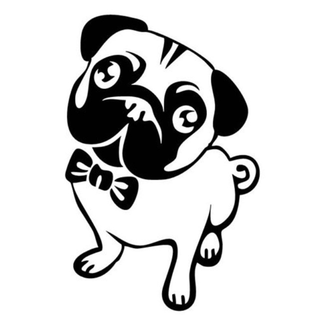 10 15 2cm Lovely Pug Dog Cartoon Car Sticker Fashion