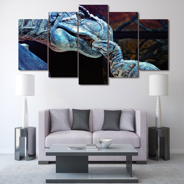 Animation Mum and Baby Dinosaur Group Painting Wall Art Canvas ...