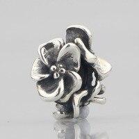 Твердые 925 серебряные цветы Spacer Бусины Фиксаторы Шарм Fit Европейский оригинальный Тролль браслет ювелирные изделия