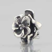 Solid 925 Sterling Silver Flowers Spacer Beads Stopper Charm Fit European Original Troll Bracelet Jewelry