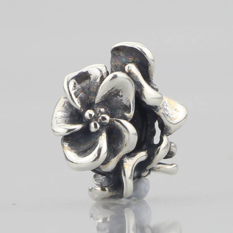 9a92b61a4 Solid 925 Sterling Silver Flowers Spacer Beads Stopper Charm Fit European  Original Troll Bracelet Jewelry