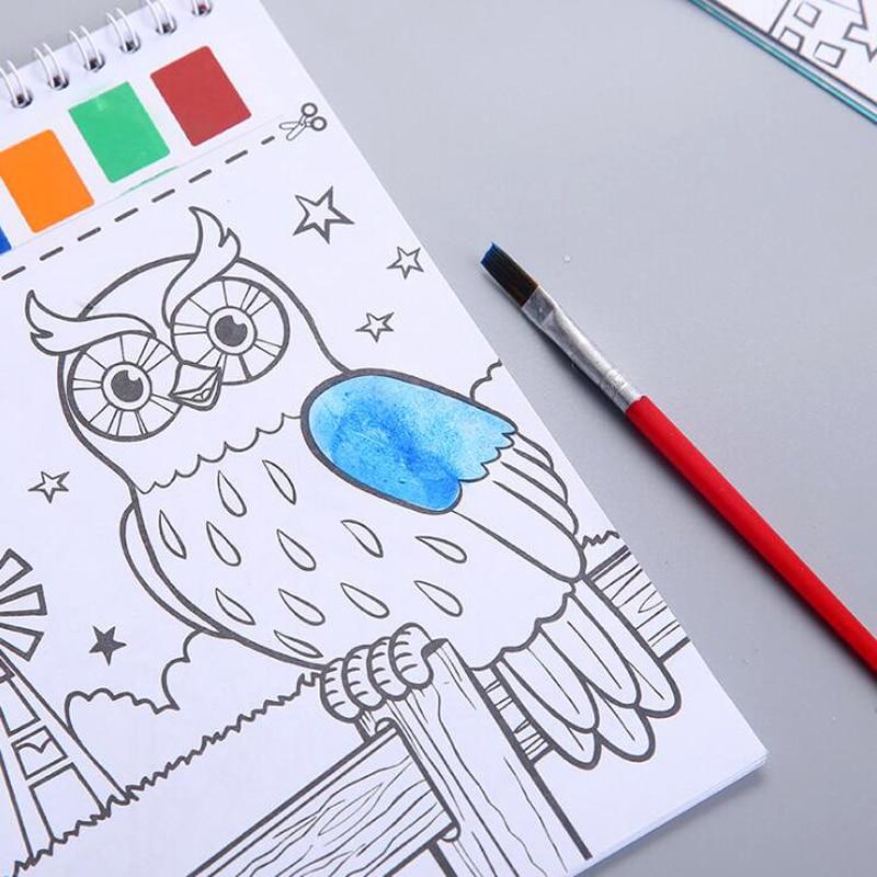Creative Cartoon Kids Gouache Painting Book Coloring Book Kindergarten Children Watercolor Painting Book
