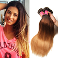 7A Brazilian Virgin Hair Ombre T1B/4/27 Straight Weave 3 Pcs Ombre Human Hair 100G Brazilian Straight Hair Ombre Hair Extensions