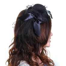 NEW  Black Mini Hat Feather Hair Clip with Bow