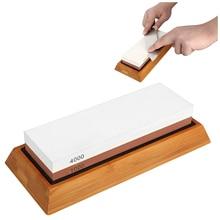 Whetstone Sharpening Stone,Knife Sharpener Kit, 1000/4000 Grit Chef Knife Sharpener Non Slip Silicone Base Holder And Bamb