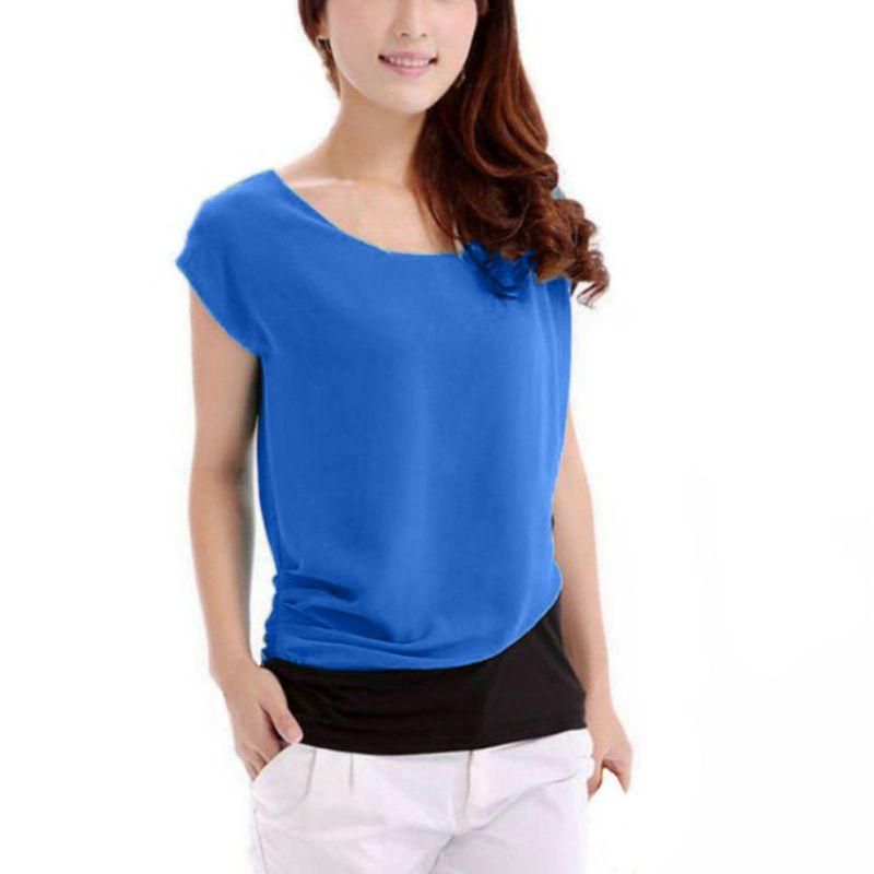 Blusas Verano de las mujeres Camisa Casual Blusa de La Gasa de Manga Corta Tops