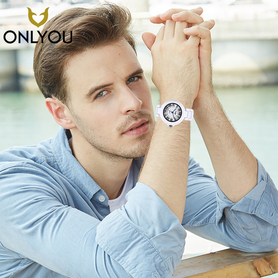 ONLYOU Men Ceramic Fashion Watch Big Dial Top Brand Luxury Casual Male Quartz Wristwatch Dress Women Lover Clock Couple цены