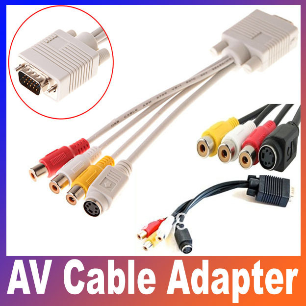 VGA TV S-Video+3 RCA Female Composite AV Cable Adapter Converter 1pcs Free shipping