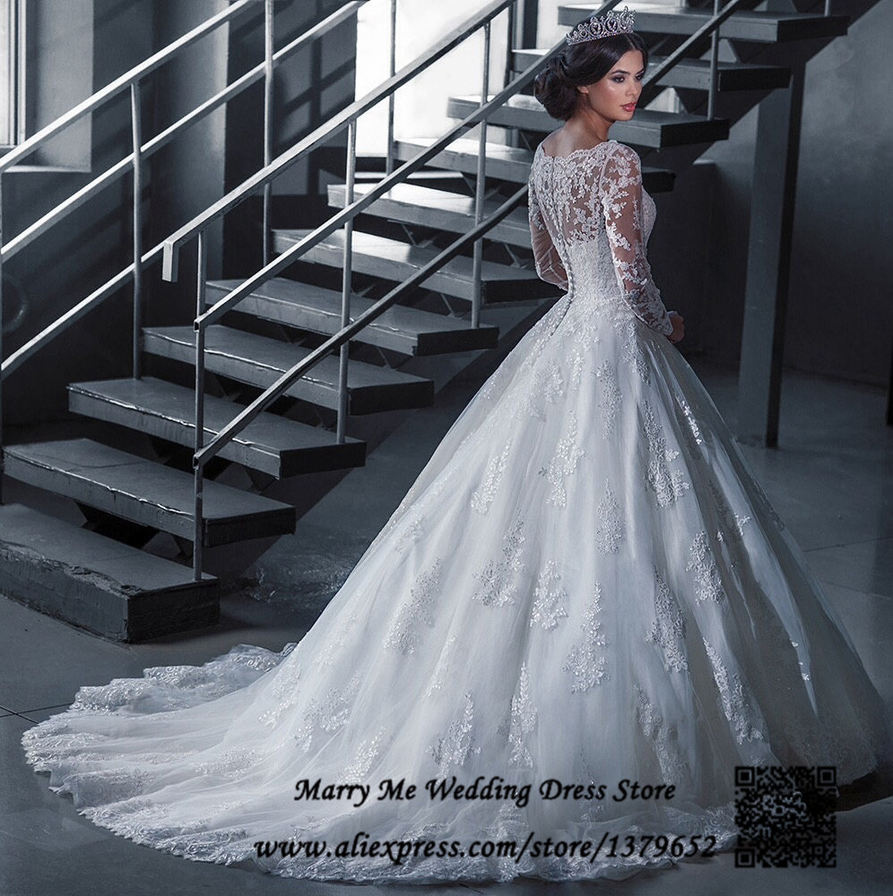 Vestido de noiva renda Vintage Plus Size Wedding Dresses Long Sleeve ...