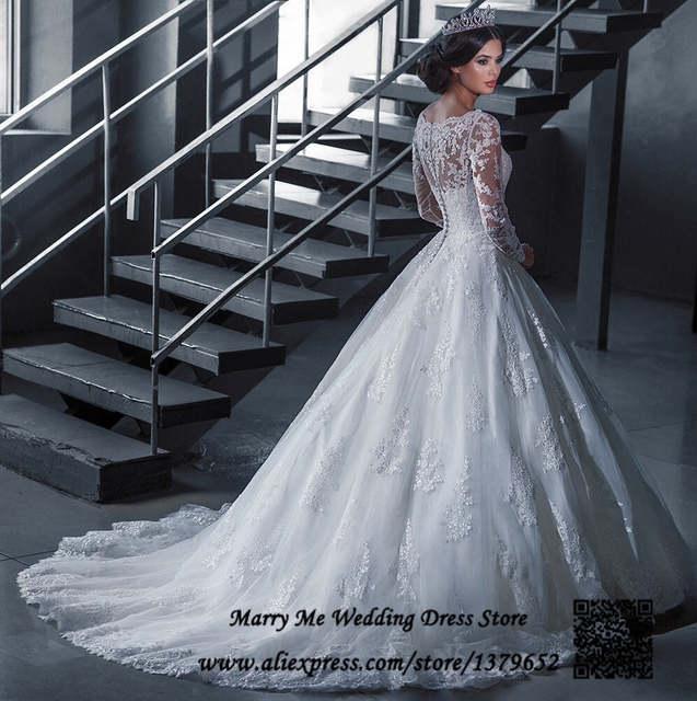 Vestido de noiva renda Vintage Plus Size Wedding Dresses Long Sleeve Lace  Bridal Dress Ball Gown Winter Custom Made China MA096