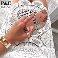 Sexy Club Dress 2017 Summer White Crochet Lace Dress Floral Celebrity Bodycon Bandage Dress Long Sleeve Slim Hollow Lace Dress