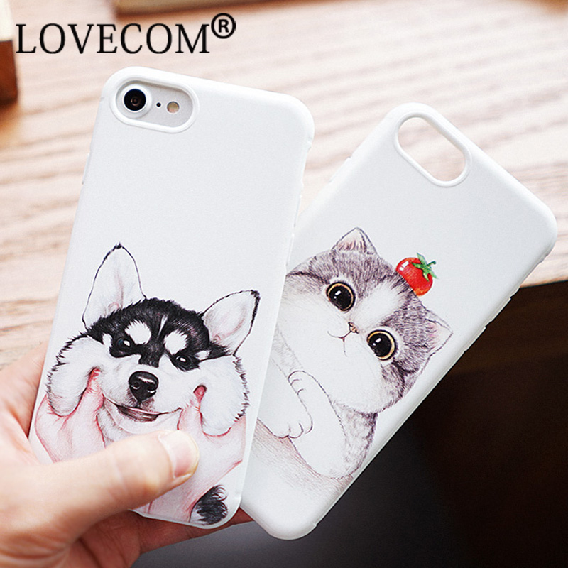 Venta caliente de la manera linda cat dog case para apple iphone 6 6 s además de