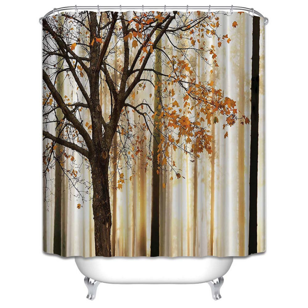 Mildew Waterproof Polyester Shower Curtain Orange Brown Fall Trees Digital Print With Hooks Bathroom Decor Gifts In Curtains From Home