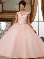 Сладкий розовый тюль бисером кружева Vestidos De 15 Anos Кристалл бисером вечернее платье без спинки Бальные платья халат Soiree Выпускные платья