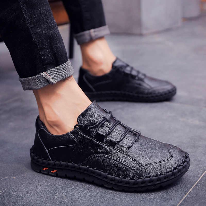 Zapatos casuales de cuero clásicos y cómodos para hombre, mocasines para hombre, mocasines, zapatos de paseo náuticos, zapatos Oxford transpirables para hombre, talla 46 47