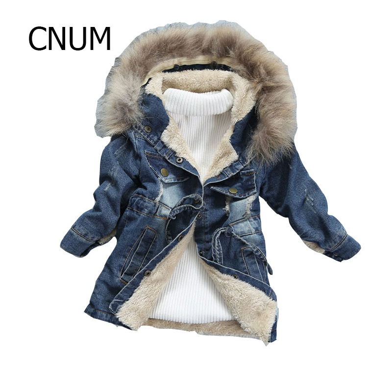 CNUM Kids Girls Trench Coat Winter Children Clothing Teenage Girls Outerwear Coats Windbreaker Kids Clothes Denim