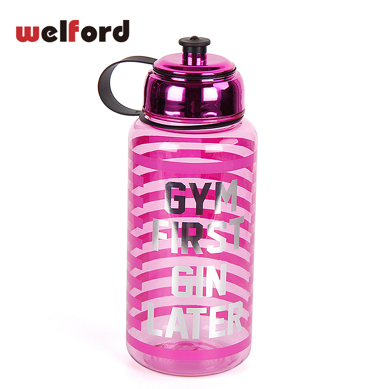 Sport Water Bottle 1000ml Large Capacity sports bottle for Water Tour Electroplate Lid Straw Red stripes water bottle bpa free