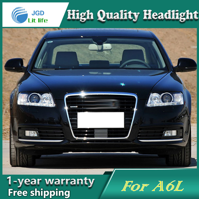 Car Styling Head Lamp case for Audi A6L 2005-2011 Headlights LED Headlight DRL Lens Double Beam Bi-Xenon HID car Accessories hireno car styling for toyo ta corolla 2011 13 headlights led super bright headlight drl xenon lens high fog lam
