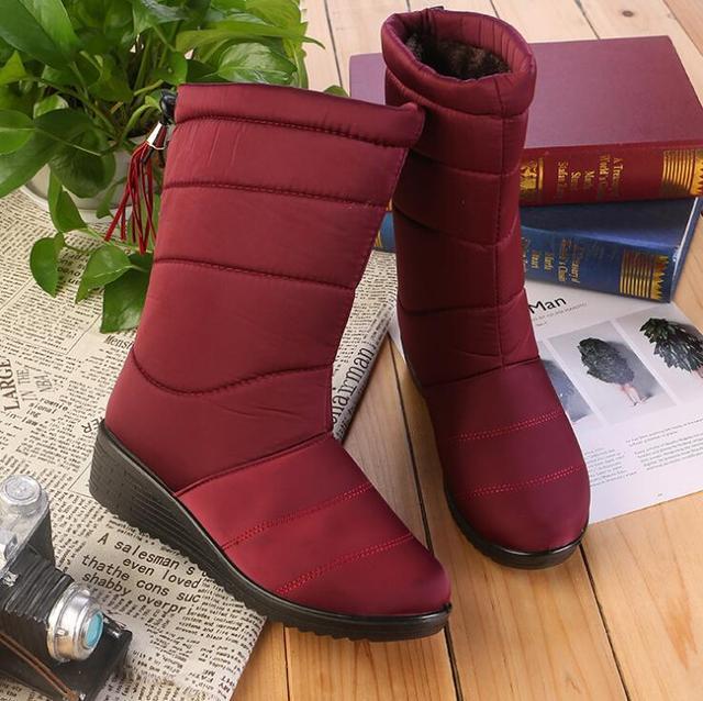 ใหม่รองเท้าผู้หญิงหญิงลงฤดูหนาวรองเท้ากันน้ำ Warm สาวกลางลูกวัวรองเท้าบูทรองเท้าผู้หญิงรองเท้าผู้หญิงอบอุ่น botas Mujer