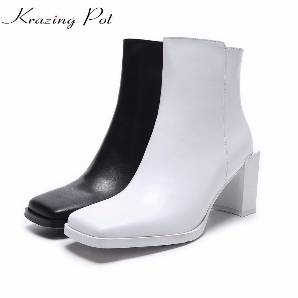 Krazing pot genuine leather streetwear square toe lazy style fashion girl high heels keep warm original design ankle boots L16 стринги lazy girl m