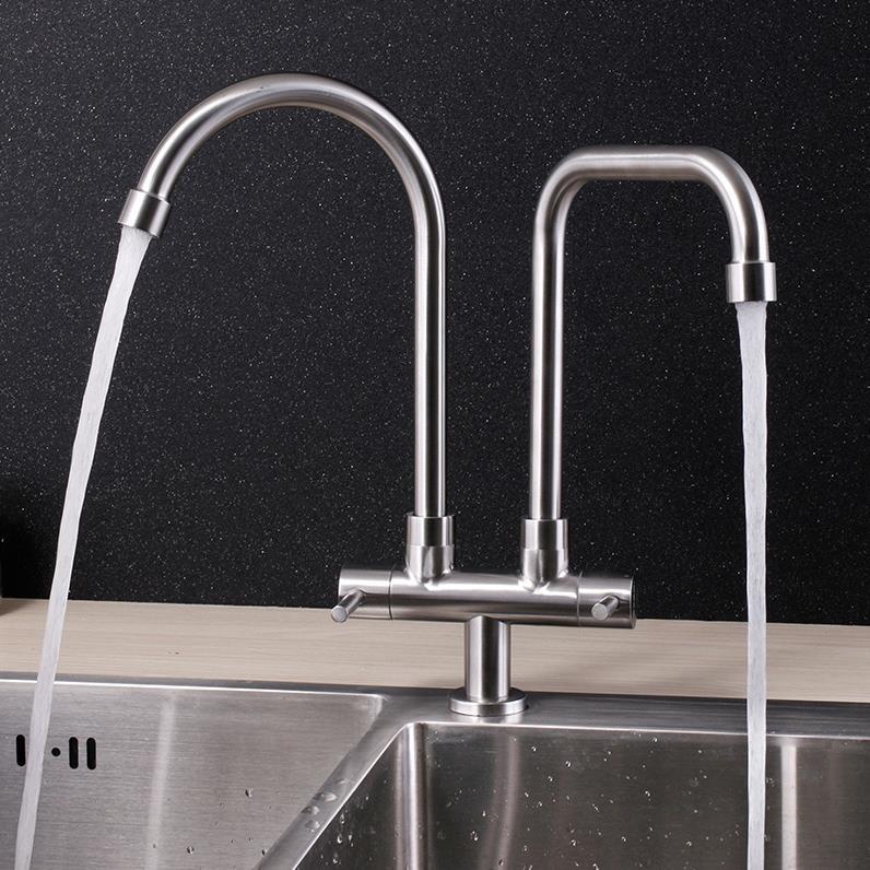Double water head kitchen sink faucet 304 stainless steel can use for two sinkDouble water head kitchen sink faucet 304 stainless steel can use for two sink