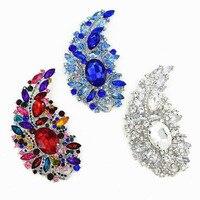 4 4 Inch Huge Luxury Big Leaf Brooch Clear Crystal Brooch Blue Crystal Silver Brooch Colorful