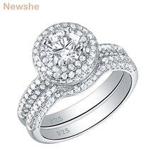 Newshe Halo alyanslar kadınlar için 2 adet katı 925 ayar gümüş nişan yüzüğü gelin seti 2.9 Ct AAA CZ klasik takı