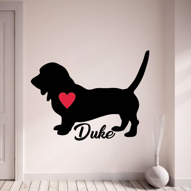 Personalize with your dogs name wall stickers custom name basset hound decal pet dog with red