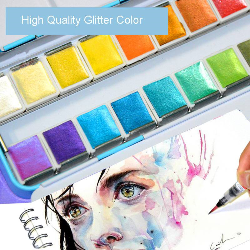 Paul Rubens Glitter Solid Watercolor Paint Artistic Water Color Paints For Painting Metal Case With Palette Art Supplies