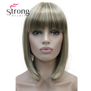 Image 2 - StrongBeauty Short Straight Blonde Highlighted Bob with Bangs Synthetic Wig Black Brown Red Womens Wigs COLOUR CHOICES