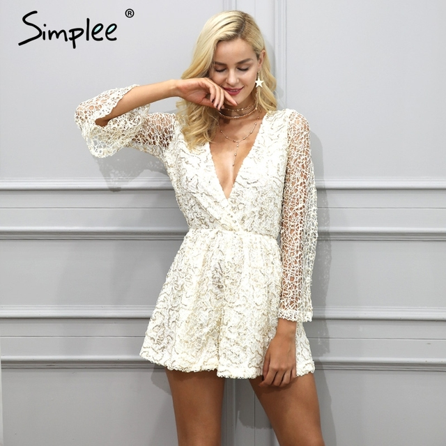 e40d36ff28 Simplee Sexy lace gold sequin jumpsuit romper Women deep v neck hollow out  overalls Summer 2017 long flare sleeve black playsuit