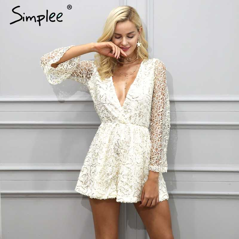 c0297edf Simplee Sexy lace gold sequin jumpsuit romper Women deep v neck hollow out  overalls Summer 2017