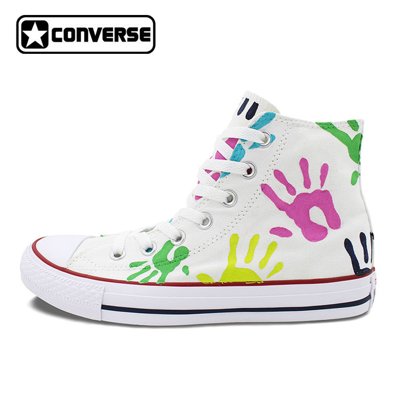 Custom Converse All Star Shoes Colorful Palm Print Original Design Hand Painted Shoes Men Women High Top Canvas Sneakers Gifts wen original design colorful lamp bulb hand painted shoes black slip on canvas sneakers for man woman s gifts presents
