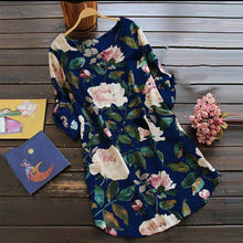 Newly Summer Women Dress Floral Printed Lady Loose Casual Dresses Plus Size S-4XL