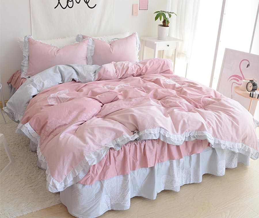 Fashion single double 100%cotton bedding set adult teen girl,twin full queen king home textile bed skirt duvet cover pillowcase