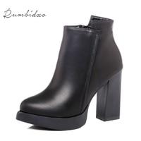 Rumbidzo Women Boots 2017 Fashion Pointed Toe Ankle Boots Women Winter Short Plush Zipper Bootie Sapatos