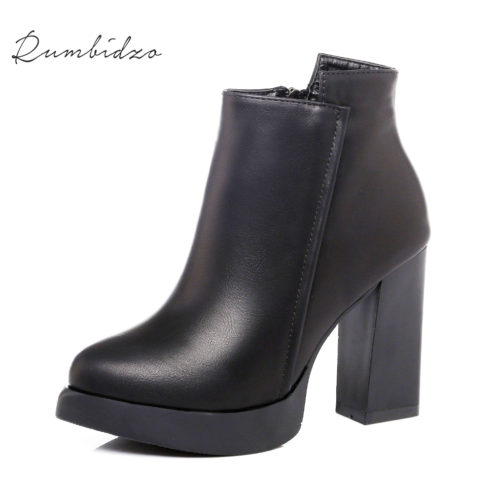Rumbidzo Women Boots 2017 Fashion Pointed Toe Ankle Boots Women Winter Short Plush Zipper Bootie Sapatos Bootie Feminios