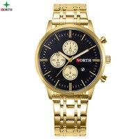 North Fashion Business Watch Men Gold Calendar Stainless Steel 9 Model Waterproof Man Dress Watch Luxury