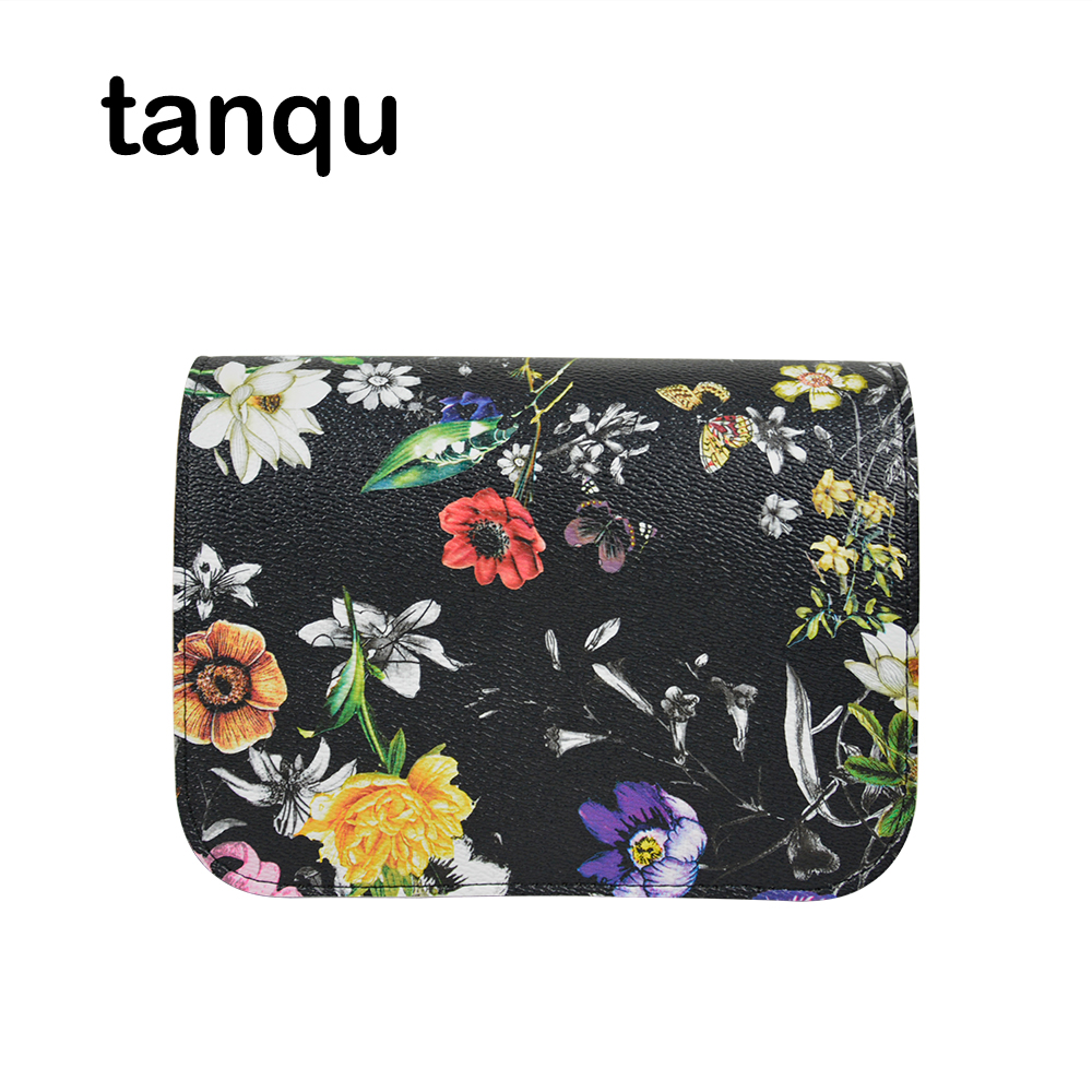 tanqu PU Leather Flap Cover for Obag O Pocket O Bag Floral Print Lid Clamshell with Magnetic Lock Snap Fastener new colorful cartoon floral insert lining for o chic ochic canvas waterproof inner pocket for obag women handbag