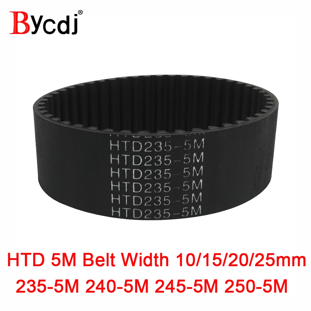 Arc HTD 5M Timing belt C=235/240/245/<font><b>250</b></font> width10/15/20/25mm Teeth 47 48 49 <font><b>50</b></font> HTD5M synchronous Belt 235-5M 240-5M 245-5M <font><b>250</b></font>-5 image