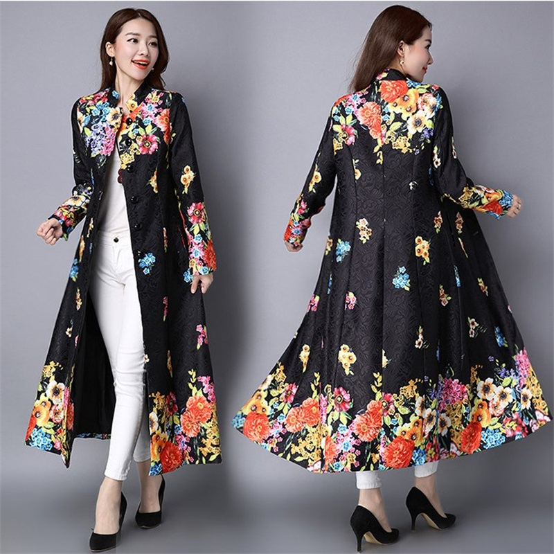 Spring Autumn New Slim Long Sleeve Print Long   Trench   Coat Women's Vintage Chinese Style Women's Printed   Trench   Winter