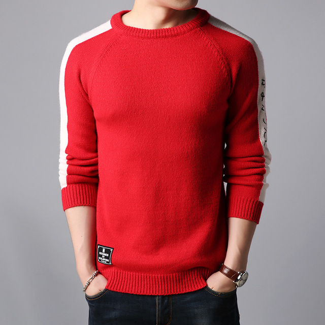 Korea Winter New Mens Thick Warm Sweaters O-Neck Wool Sweater Stitching  Letters Leisure Knitted c3c7e78aa0