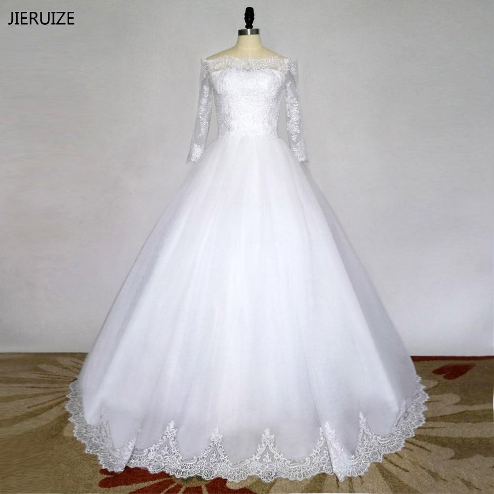 JIERUIZE pernikahan & de novia Putih Vintage Lace Appliques Off the Wedding Dresses Lengan Panjang Gaun Pengantin