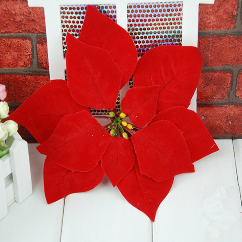 1pc cute plastic red artificial christmas poinsettia flowers festival xmas tree decoration home party ornament supplies - Christmas Poinsettia