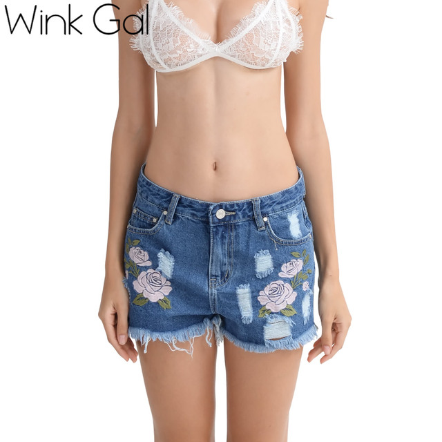 30ac5106ffb7 Wink gal vintage ripped denim shorts mujeres azul marino casual pocket  jeans shorts patchwork pantalones cortos de cintura alta pantalones  vaqueros ...