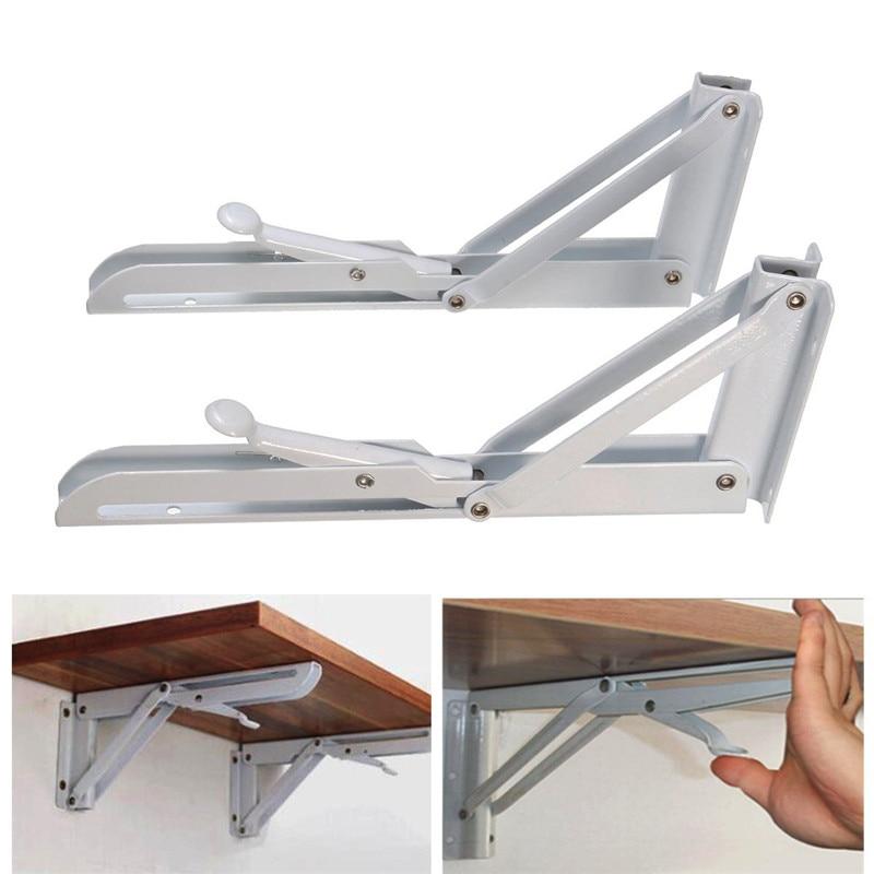MTGATHER 2 piezas Triangular plegable soporte de liberación de Metal soporte de captura Banco mesa plegable estante soporte hogar