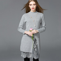 3 Color 2017 Autumn And Winter Women Lace Dress Elegant Rabbit Hair Dress With Long Sleeves