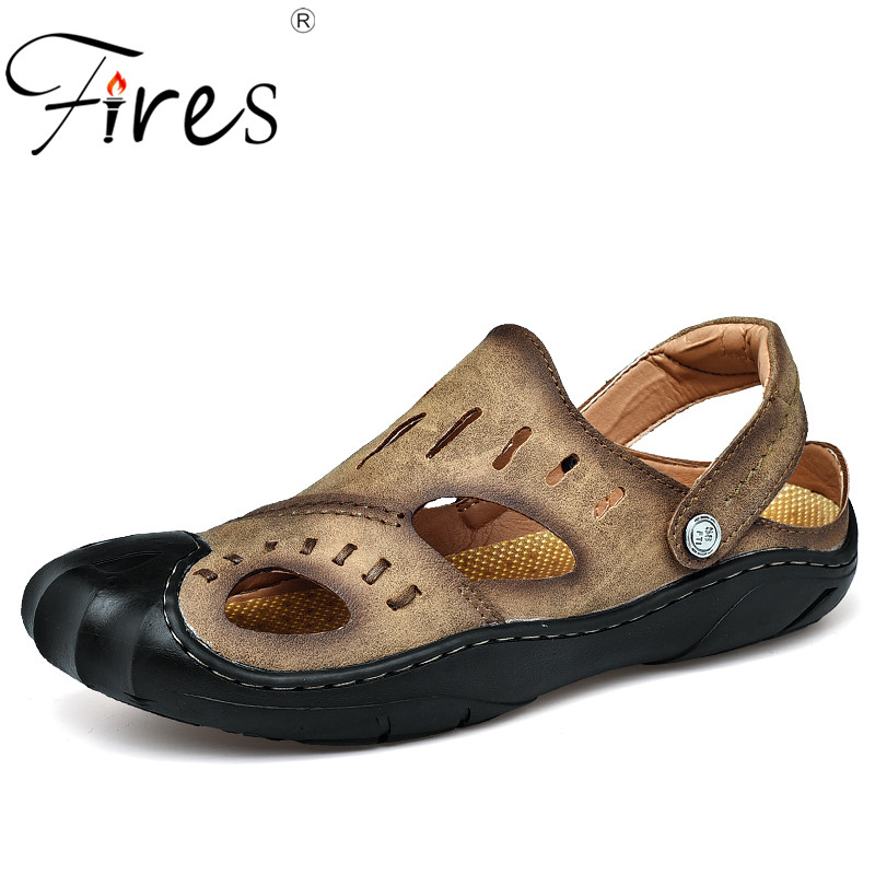 Fires Hot Summer Men Sandals Casual High Quality Casual Shoes New Mens PU Leather Sandal Fine Suture Handmade Shoes Flat Shoes