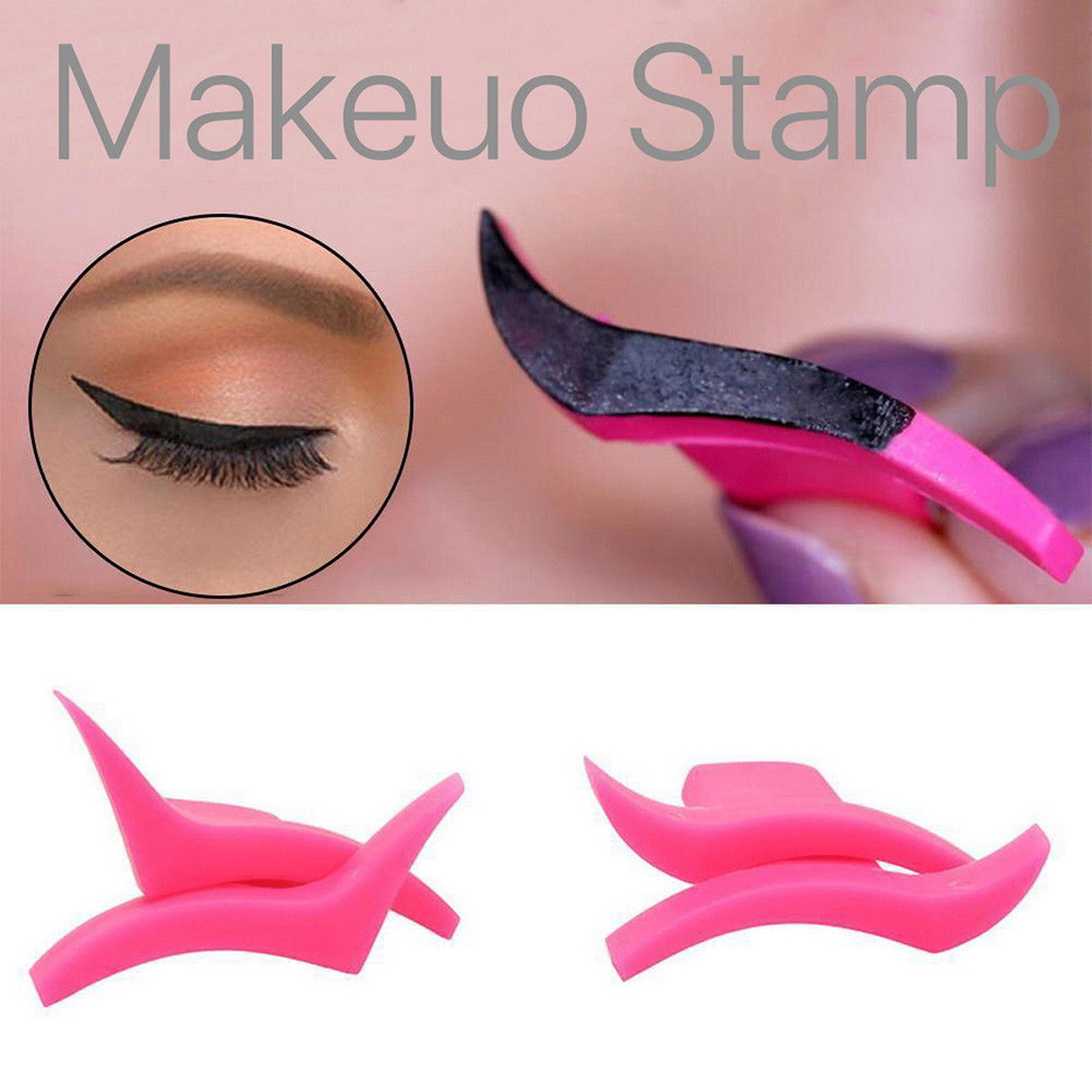 ELECOOL 2Pcs Eyeliner Template Stamp Mold Wings Easy To Wear Liquid Eye Liner Black Wing Shape Cosmetic Eyeliner Stamp Tool